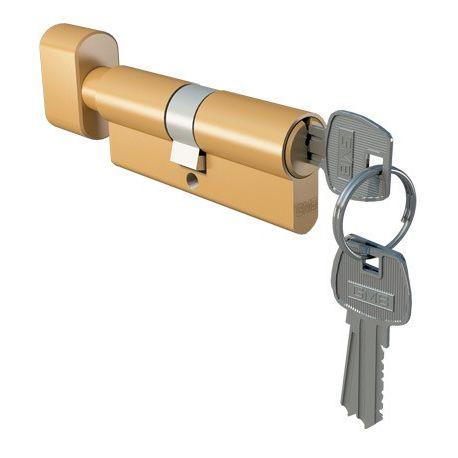 Wkładka drzwiowa z gałką 30/40 mosiądz dolna