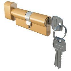 Wkładka drzwiowa 30/45 zewnętrzna mosiądz z gałką