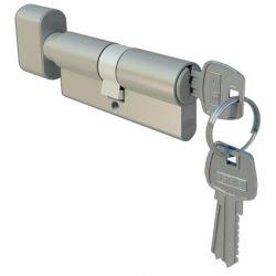 Wkładka drzwiowa 30/45 zewnętrzna nikiel z gałką