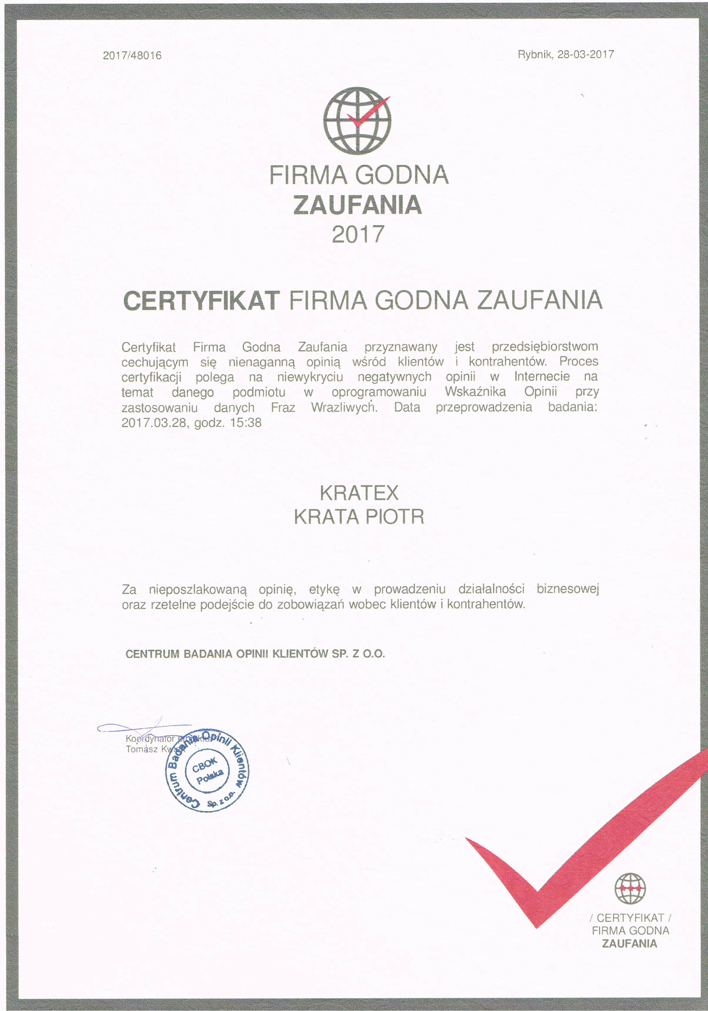 certyfikat Godna Zaufanie 2017
