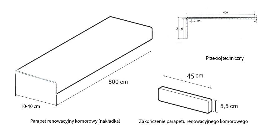 Parapet renowacyjny komorowy Złoty Dąb - nakładka PCV